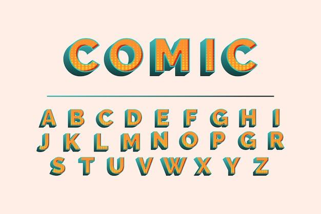 3 dコミックアルファベット 無料ベクター