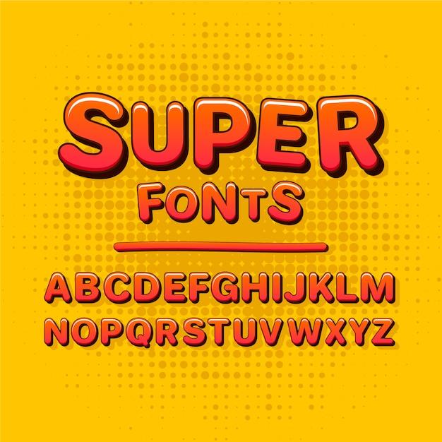 3 dコミックアルファベットコレクションコンセプト 無料ベクター