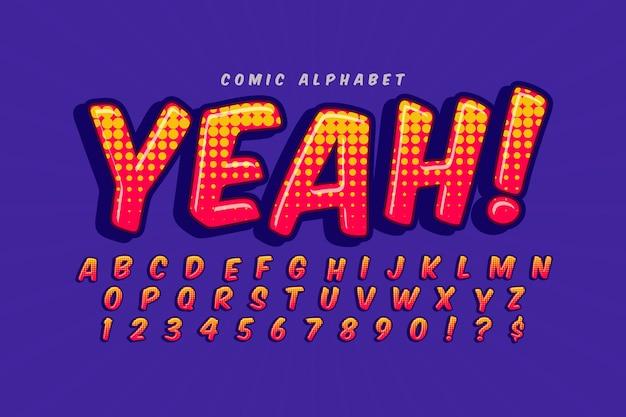 アルファベットコレクションの3 dコミックスタイル 無料ベクター