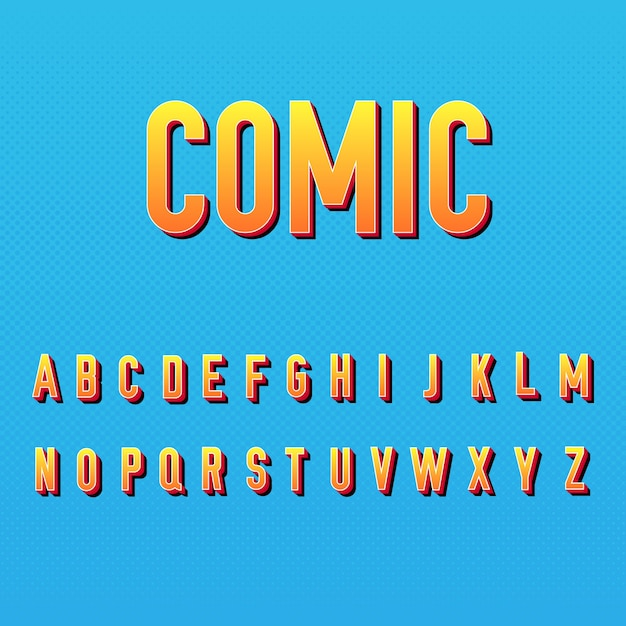3 dコミックアルファベットスタイル 無料ベクター
