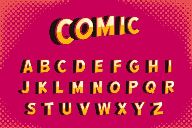 3 dコミックアルファベットデザイン 無料ベクター