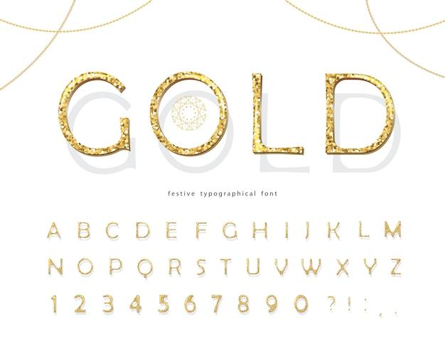 ゴールドラメ3 dフォント。 Premiumベクター