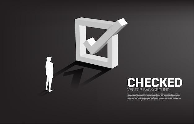 3 dチェックボックスで立っているシルエット実業家。 Premiumベクター