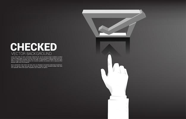 シルエットのビジネスマン手タッチ3 dチェックボックス。選挙投票のテーマの背景の概念。 Premiumベクター