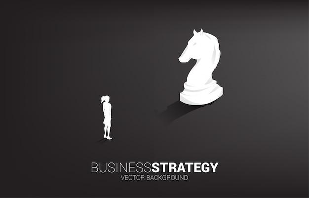 実業家と騎士のチェスの駒3 dシルエットベクトル Premiumベクター