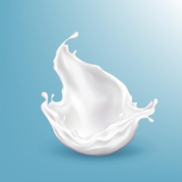 3 dのリアルな牛乳をはねかける、青い背景に分離された明るい飲料をベクトルします。 無料ベクター