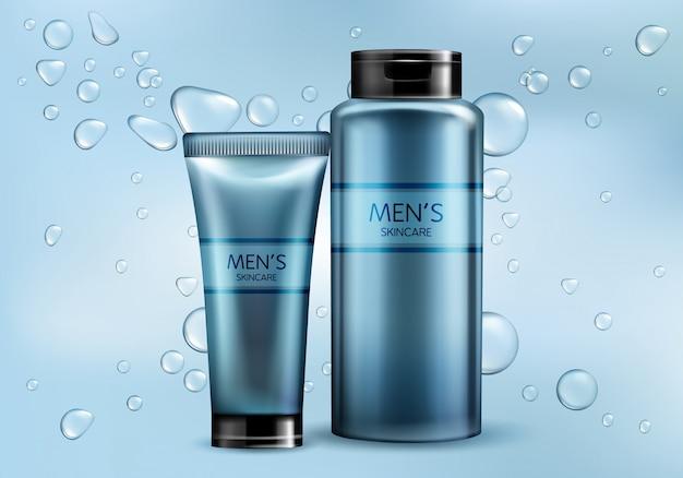 メンズ化粧品製品ライン3 dリアルなベクトル広告モックアップ。スキンケアクリーム、シャンプー、シェービングフォームまたはローションのプラスチック製のチューブ、水の気泡とグラデーションの背景にガラス瓶のイラスト 無料ベクター