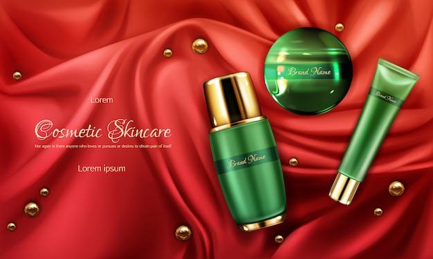 スキンケア化粧品製品ライン3 dリアルなベクトル広告バナー 無料ベクター