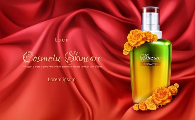 レディース化粧品3 d現実的なベクトル広告バナーや化粧品プロモーションポスター。 無料ベクター