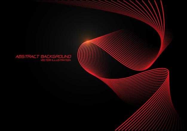 黒い背景に赤い波曲線3 d光。 Premiumベクター