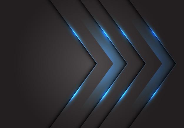 青い光3 d矢印方向、暗い灰色の空白スペースの背景。 Premiumベクター