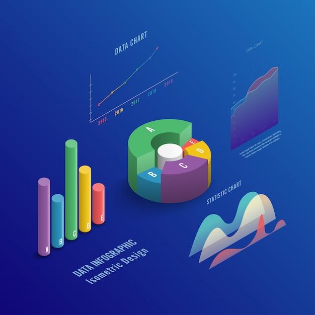 図やグラフを等尺性の3 dビジネスインフォグラフィック。 Premiumベクター
