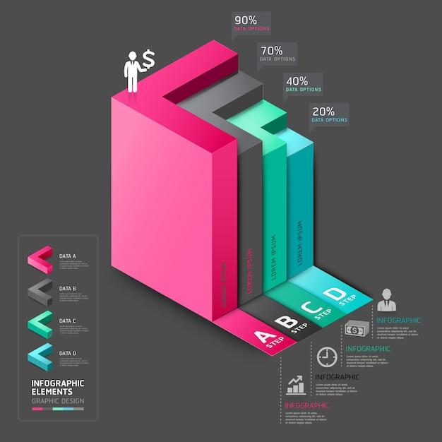 3 d矢印階段図ビジネスステップオプション。 Premiumベクター