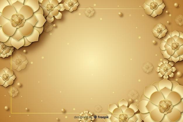3 dの黄金の花の装飾的な背景 無料ベクター