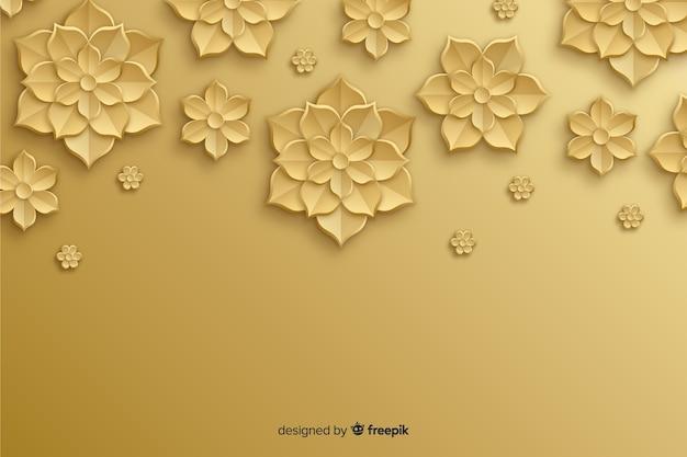 3 dの黄金の花と自然の背景 無料ベクター