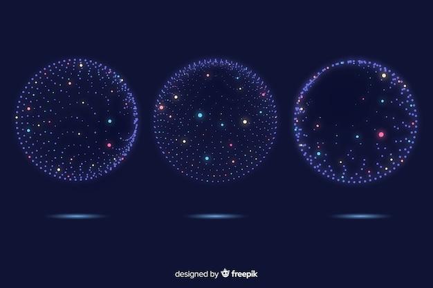 カラフルな粒子3 d幾何学図形コレクション 無料ベクター
