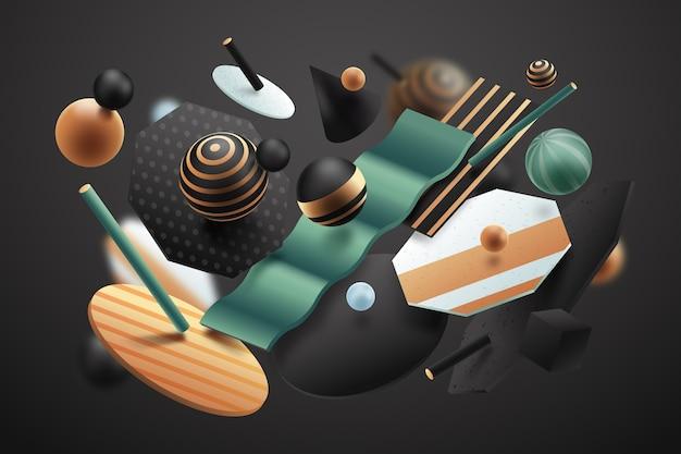 抽象的な3 d効果のテクスチャ形状の背景 無料ベクター