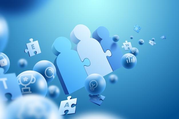 3 d効果のチームワークの概念の背景 無料ベクター