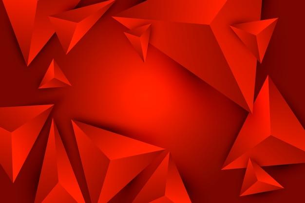 ポリ効果を持つ3 dの三角形の赤い背景 無料ベクター