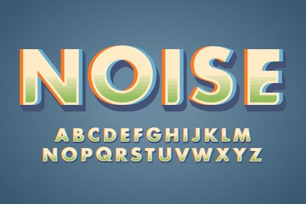 アルファベット文字と「ノイズ」単語3 dレトロな効果 無料ベクター