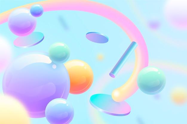抽象的な青い空と図形の3 d背景 無料ベクター