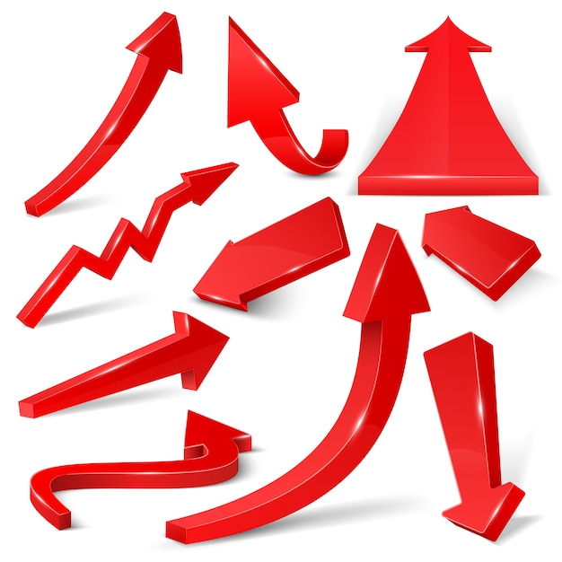 白いベクトルセットに分離された光沢のある赤い3 d矢印。矢印ウェブ曲線方向図 Premiumベクター