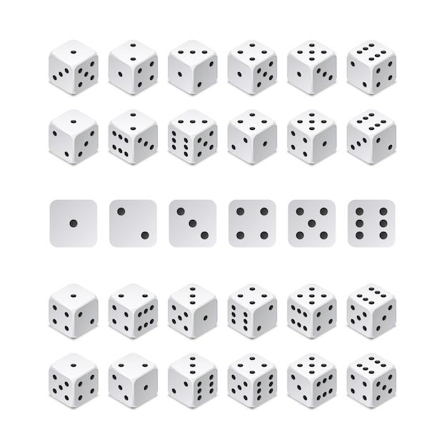等尺性3 dダイスの組み合わせ。分離されたベクトルゲームキューブ。ギャンブルアプリとカジノのコンセプトのためのコレクション。サイコロゲーム、カジノの図のためのギャンブルキューブ Premiumベクター