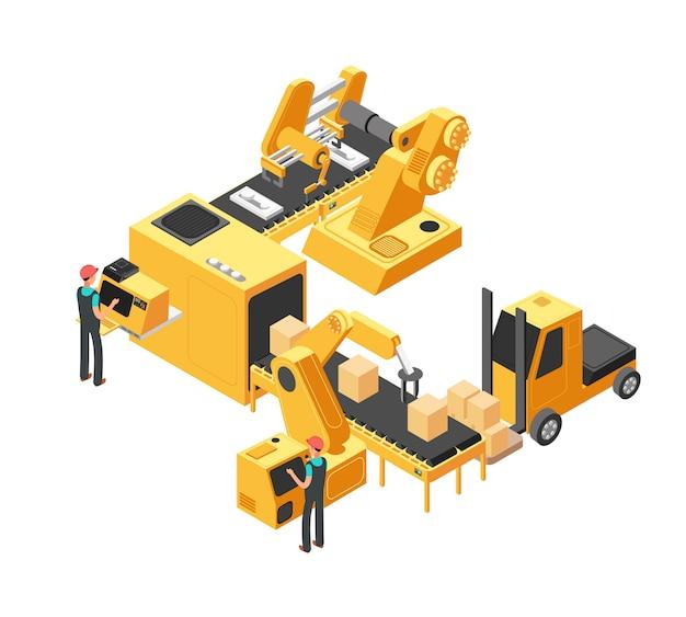 包装装置と工場労働者を含む工業生産コンベアライン3 d等角投影図のベクトル図 Premiumベクター