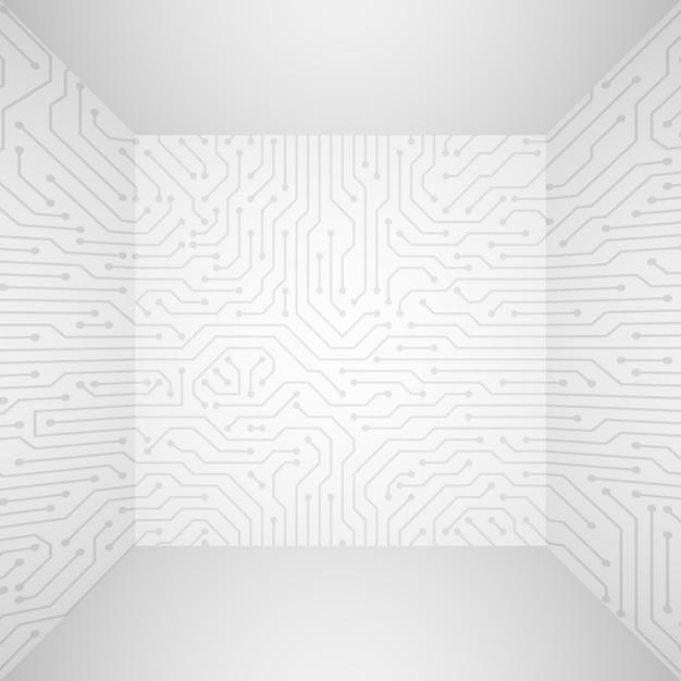 回路基板と抽象的な現代的な白い技術3 dのベクトルの背景。情報技術会社のコンセプト Premiumベクター