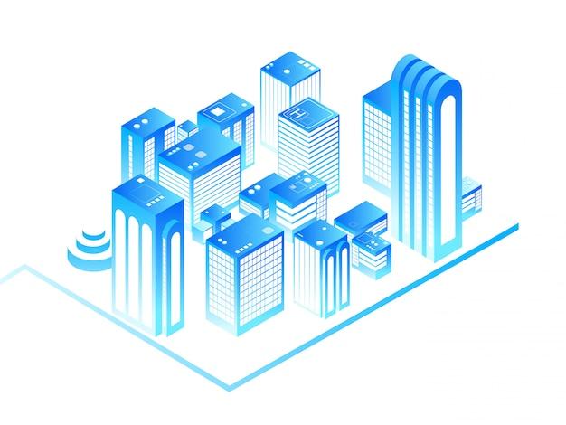 スマートシティ。住宅等尺性建物と3 dの都市地図。 Premiumベクター