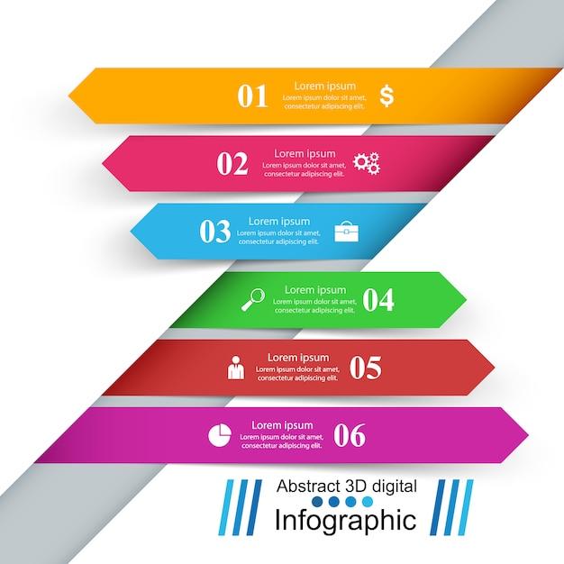 3 dインフォグラフィックデザインテンプレート Premiumベクター