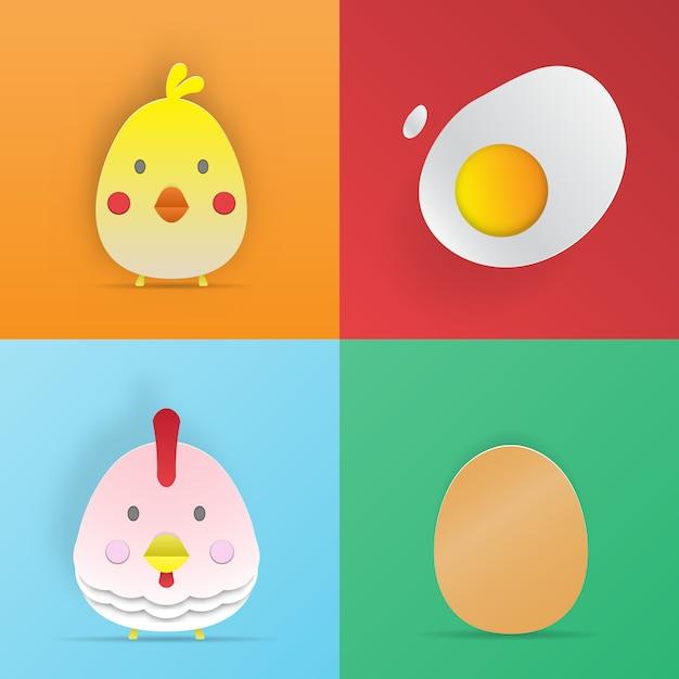鶏と卵の紙アートスタイル3 dベクトルイラストセット Premiumベクター