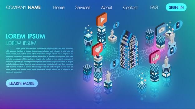 ランダンのページ。モックサイトソーシャルメディアネットワーク平らな3 dアイソメトリック概念ベクトルのアイコンの技術と接続 Premiumベクター