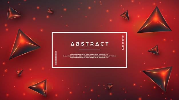 赤の抽象的な3 d三角形の背景。 Premiumベクター