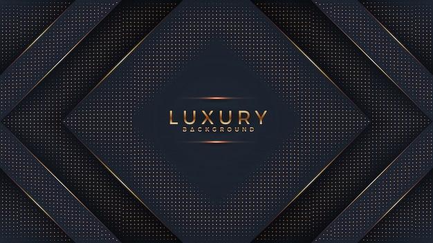 3 dスタイルの輝く黄金のドットの組み合わせで豪華な黒の背景。 Premiumベクター