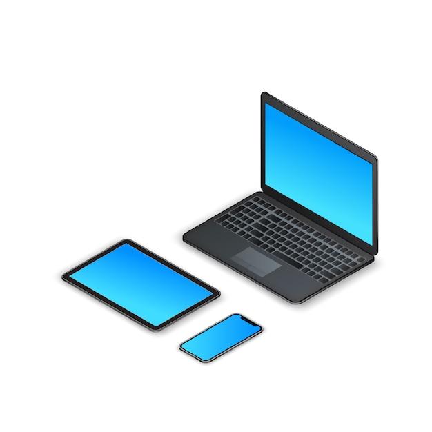 等尺性ガジェットのセットです。 3 dノートパソコン、タブレット、スマートフォン、白で隔離される空白の画面 Premiumベクター