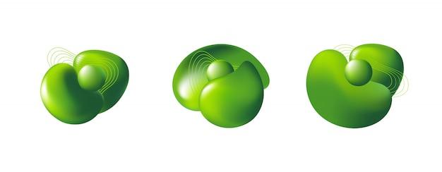 抽象的な現代3 d緑要素のセット 無料ベクター
