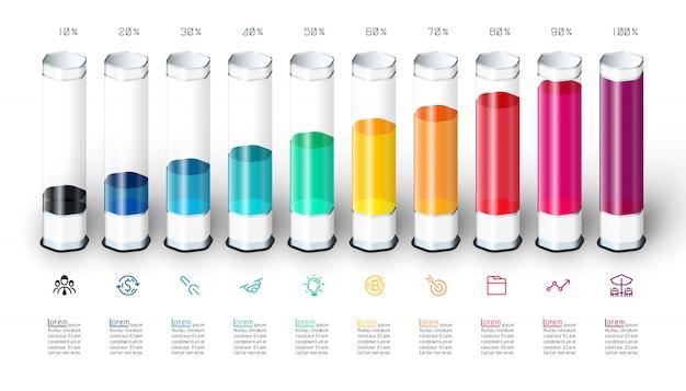 カラフルな3 dガラス管とバーグラフのインフォグラフィック。 Premiumベクター
