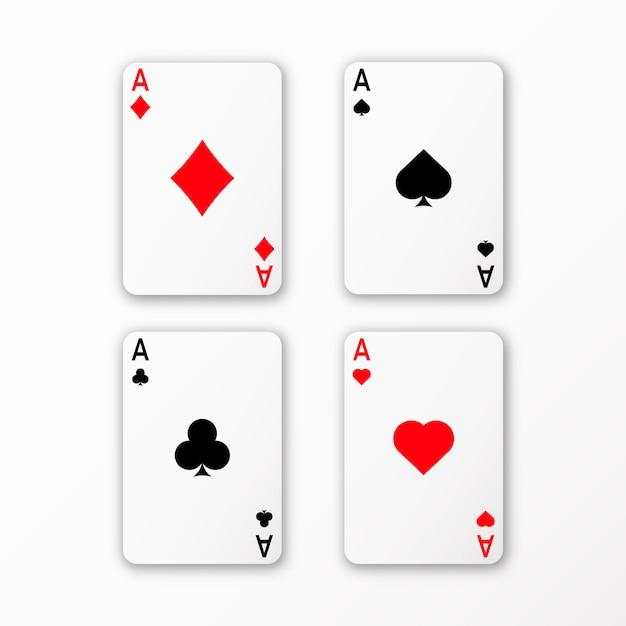 トランプエース設定ベクトルカジノカード3 d影 Premiumベクター