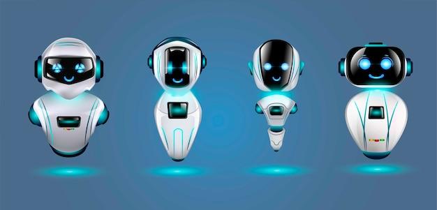 かわいい3 dロボットのセットです。 Premiumベクター