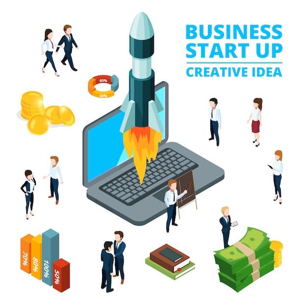 ビジネスを始めるの概念図。スタートアップの視覚化3 d等角投影写真 Premiumベクター