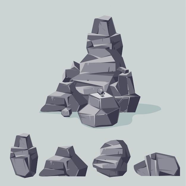 山の灰色の岩のセットです。漫画等尺性3 dフラットスタイル。別の岩のセット Premiumベクター