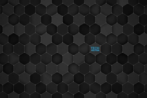 技術六角形の3 dの抽象的な背景 Premiumベクター