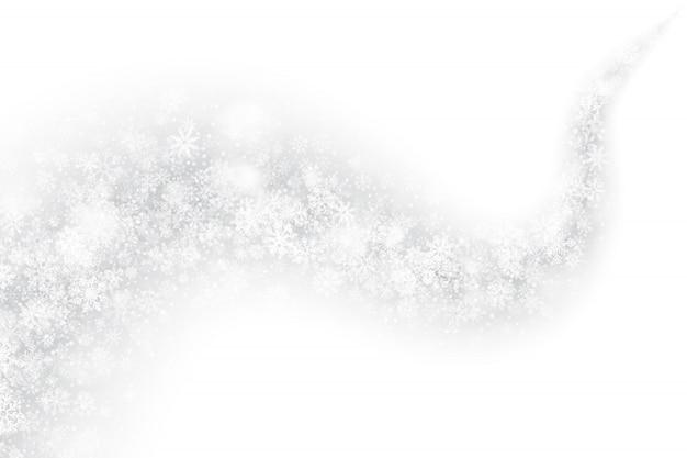 白い背景の3 d渦巻く雪の効果 Premiumベクター