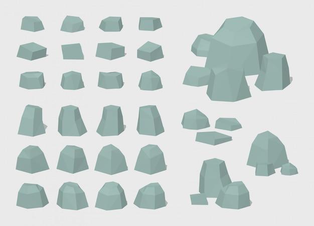 3 d低ポリ岩と石のセット Premiumベクター
