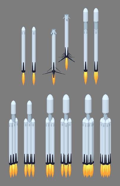 フライングモダンな3 d低ポリアイソメトリック宇宙ロケット Premiumベクター