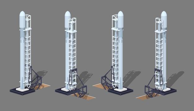 発射台の上の3 d低ポリアイソメトリックモダンスペースロケット Premiumベクター