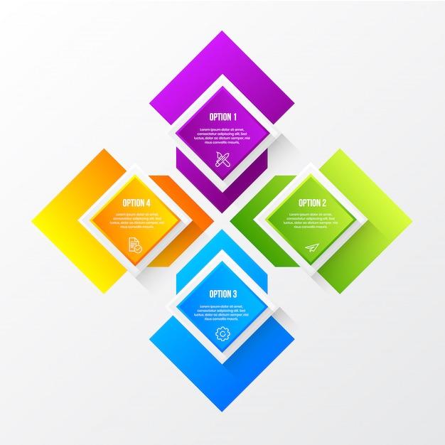 3 dテーブルと色のモダンなインフォグラフィック Premiumベクター