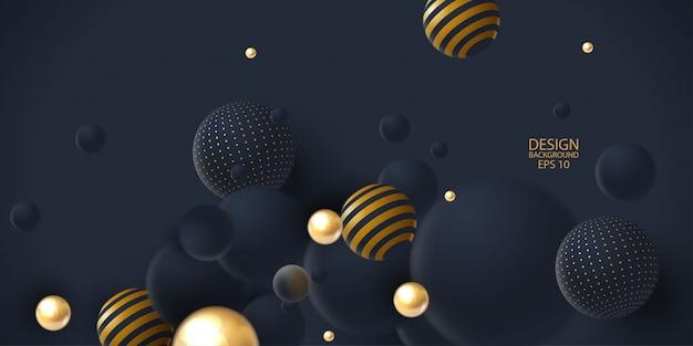 3 d球クラスターと抽象的な背景。 Premiumベクター