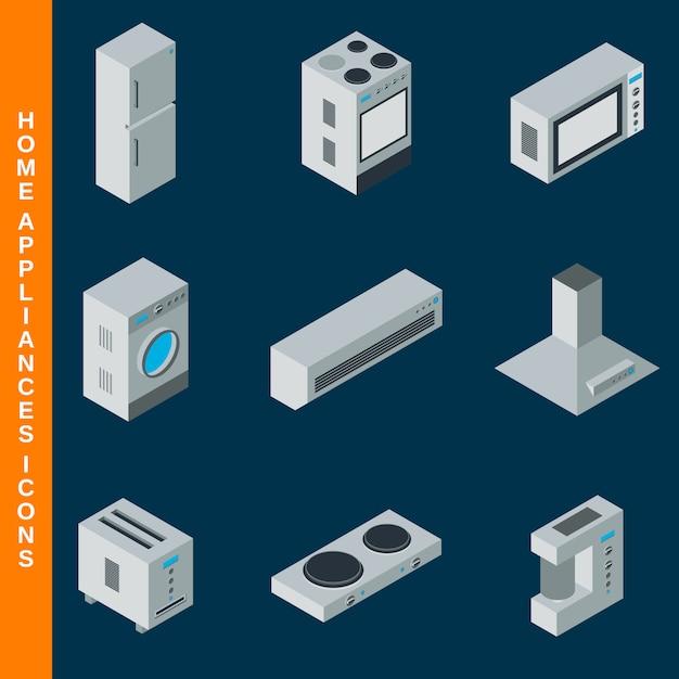 等尺性フラット3 d家電アイコンを設定 Premiumベクター